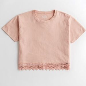 Hollister Lace-Hem Crop T-shirt Large